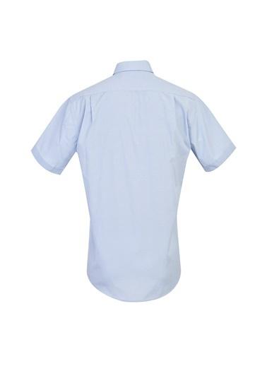 Kiğılı Regular Fit Kısa Kol Desenli Gömlek Mavi
